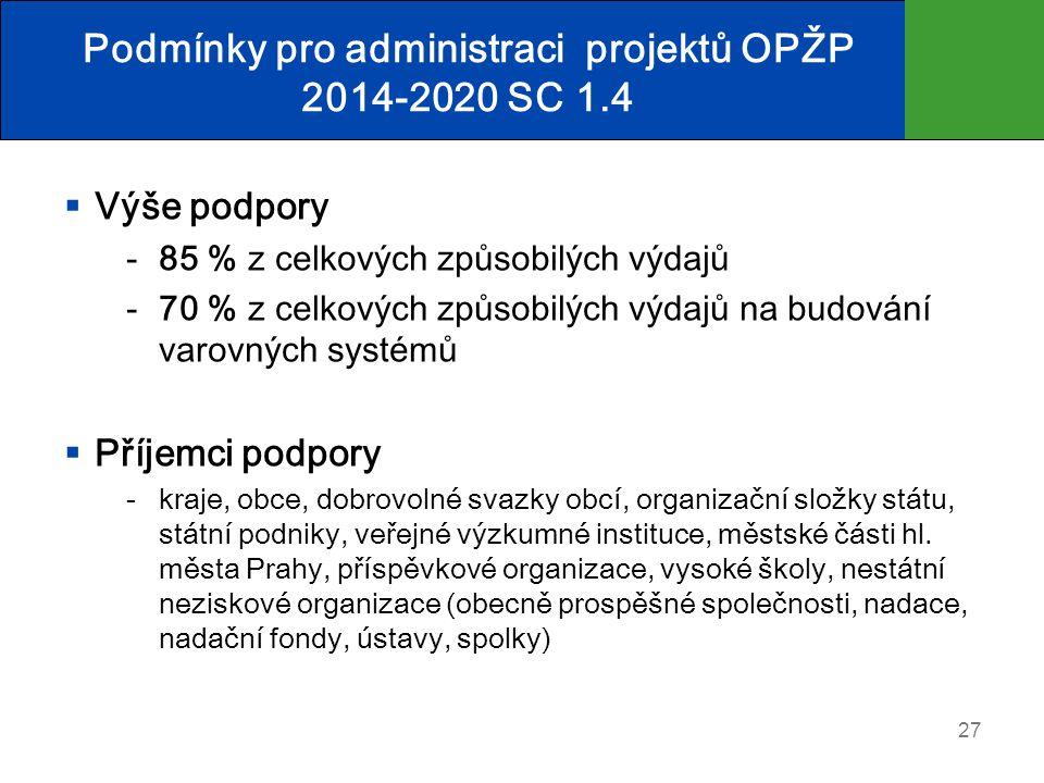 Podmínky pro administraci projektů OPŽP 2014-2020 SC 1.4