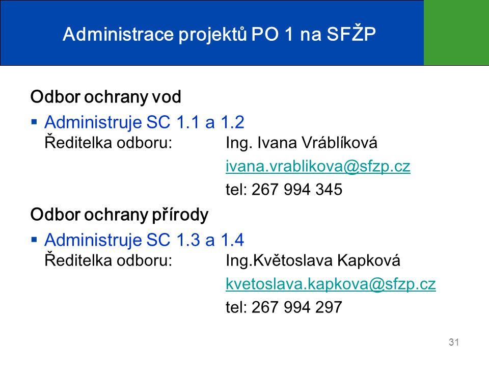 Administrace projektů PO 1 na SFŽP