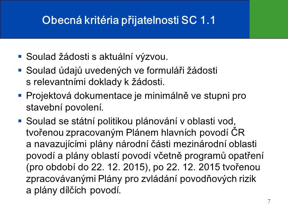 Obecná kritéria přijatelnosti SC 1.1