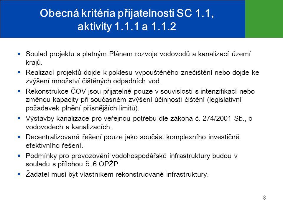 Obecná kritéria přijatelnosti SC 1.1, aktivity 1.1.1 a 1.1.2