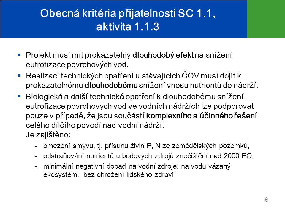 Obecná kritéria přijatelnosti SC 1.1, aktivita 1.1.3