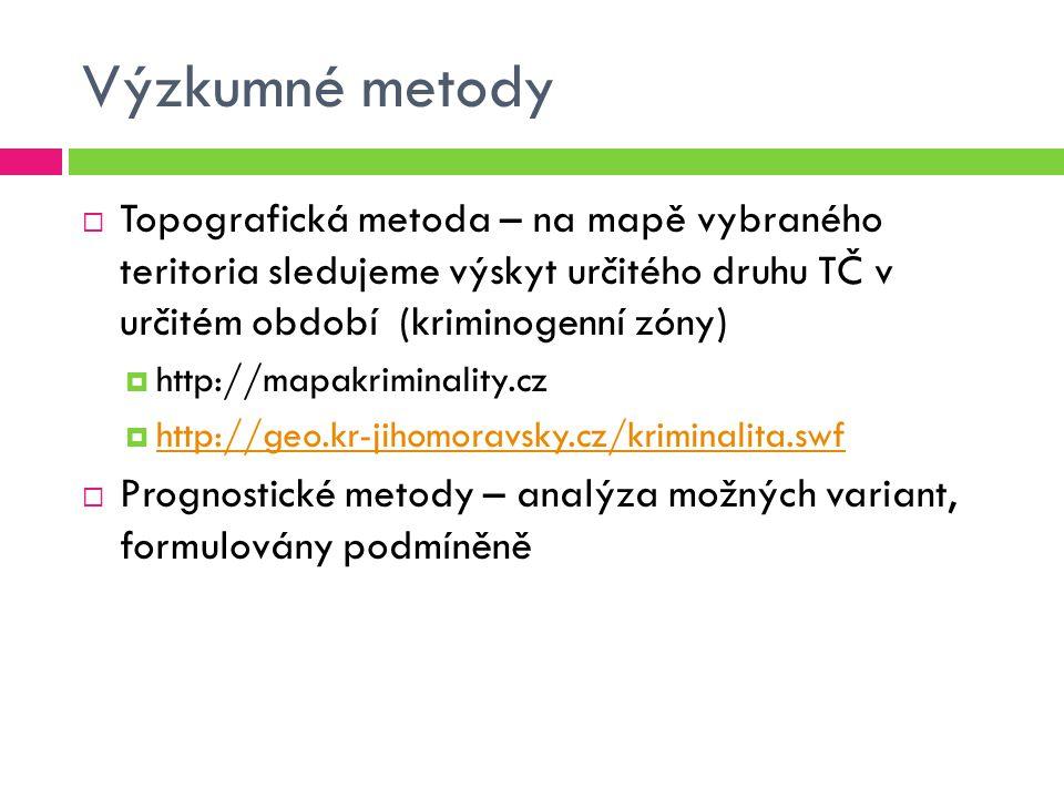 Výzkumné metody Topografická metoda – na mapě vybraného teritoria sledujeme výskyt určitého druhu TČ v určitém období (kriminogenní zóny)