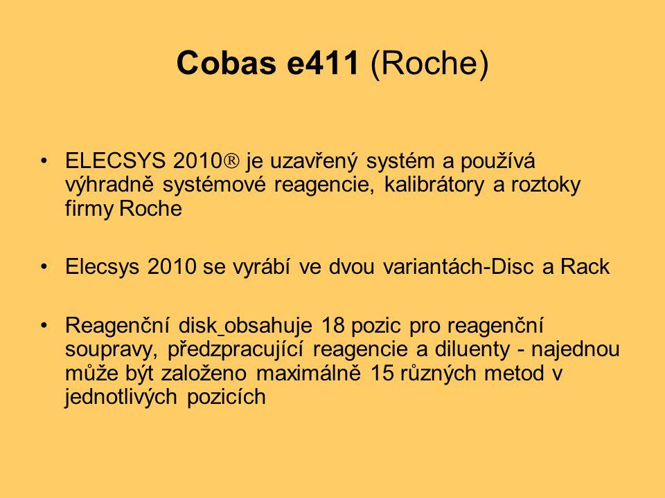 Cobas e411 (Roche) ELECSYS 2010 je uzavřený systém a používá výhradně systémové reagencie, kalibrátory a roztoky firmy Roche.