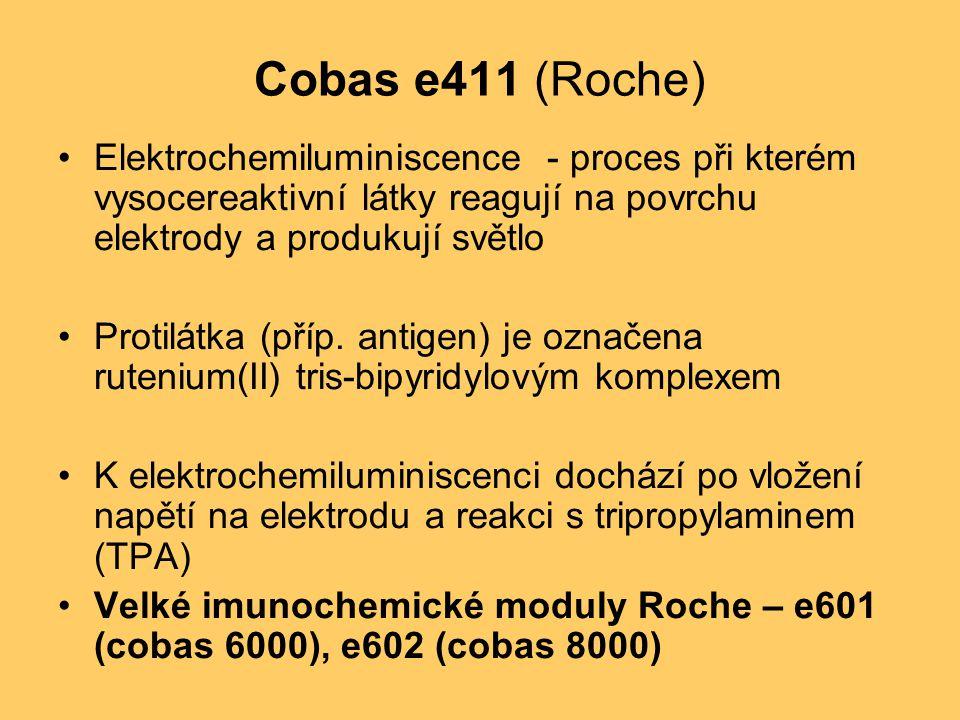Cobas e411 (Roche) Elektrochemiluminiscence - proces při kterém vysocereaktivní látky reagují na povrchu elektrody a produkují světlo.