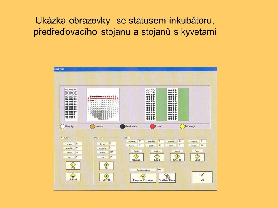 Ukázka obrazovky se statusem inkubátoru, předřeďovacího stojanu a stojanů s kyvetami