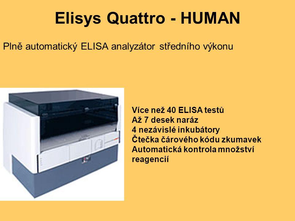 Elisys Quattro - HUMAN Plně automatický ELISA analyzátor středního výkonu. Více než 40 ELISA testů.