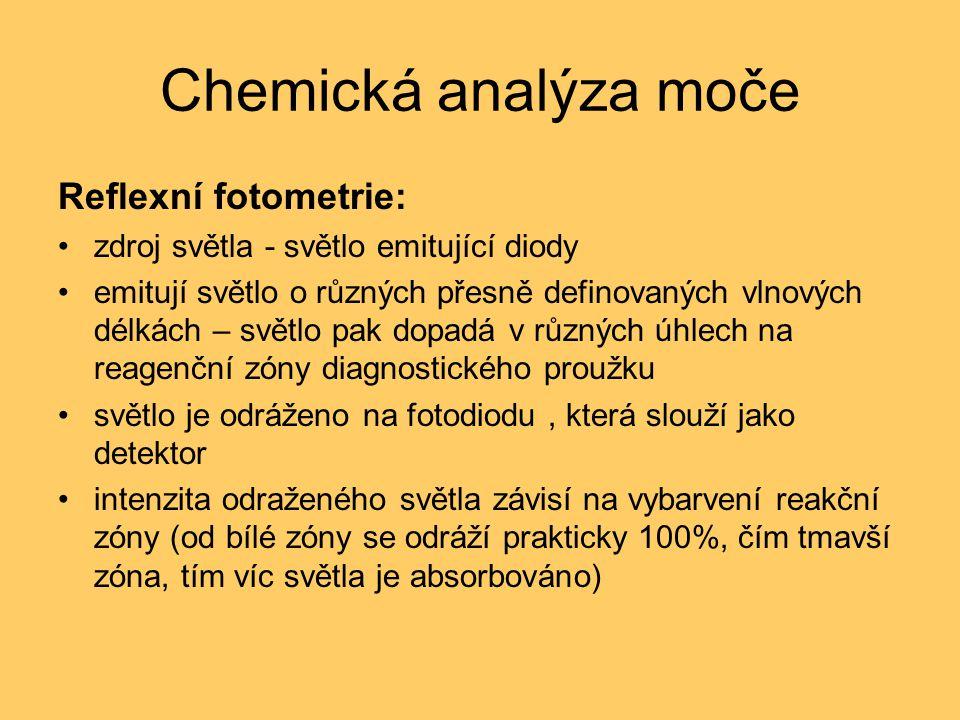 Chemická analýza moče Reflexní fotometrie: