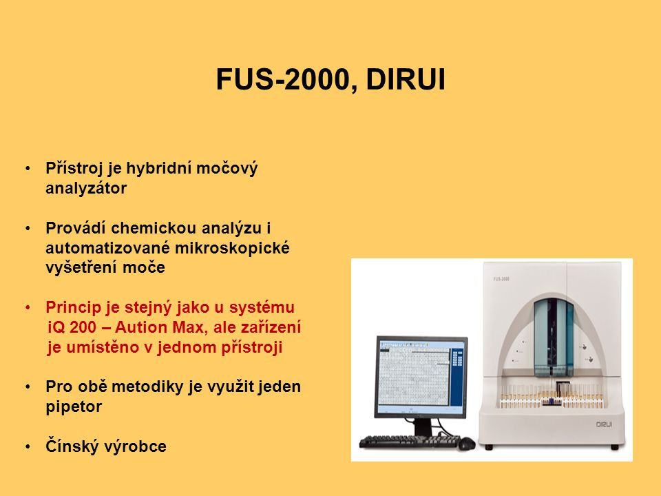 FUS-2000, DIRUI Přístroj je hybridní močový analyzátor