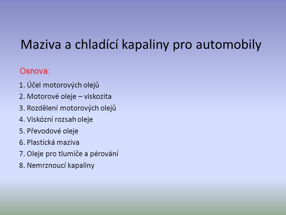 Maziva a chladící kapaliny pro automobily