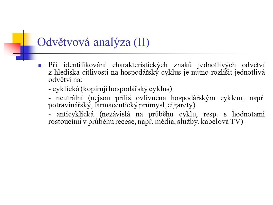 Odvětvová analýza (II)