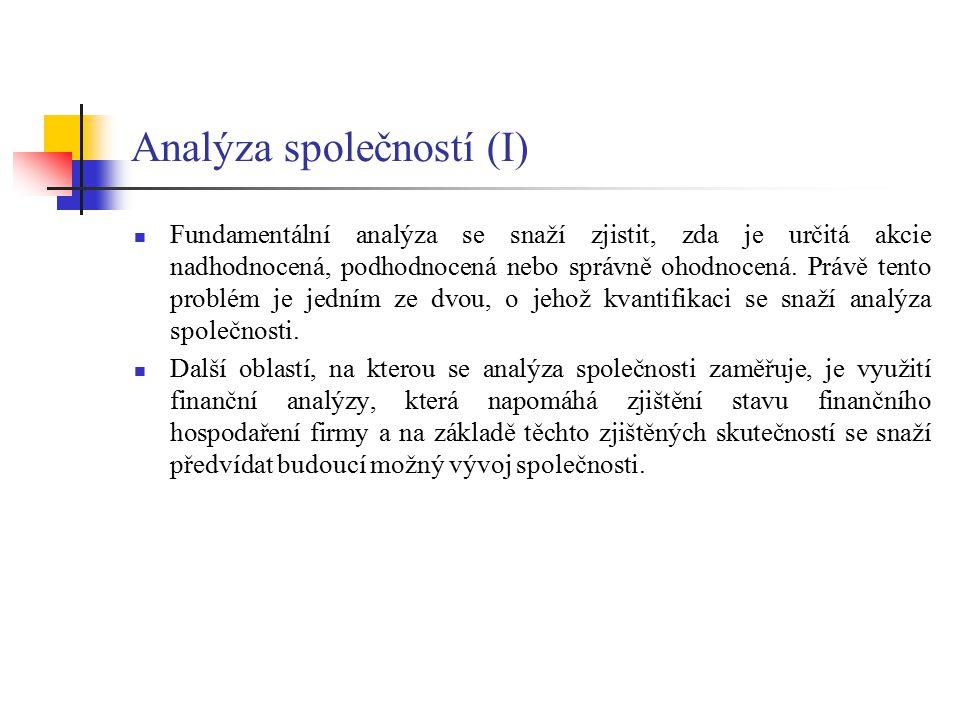Analýza společností (I)