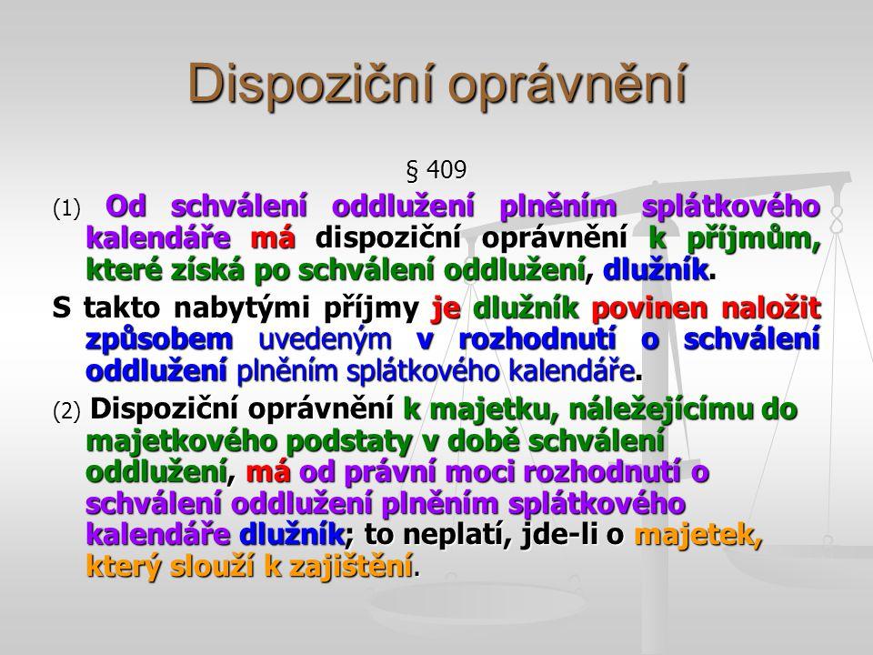 Dispoziční oprávnění § 409.