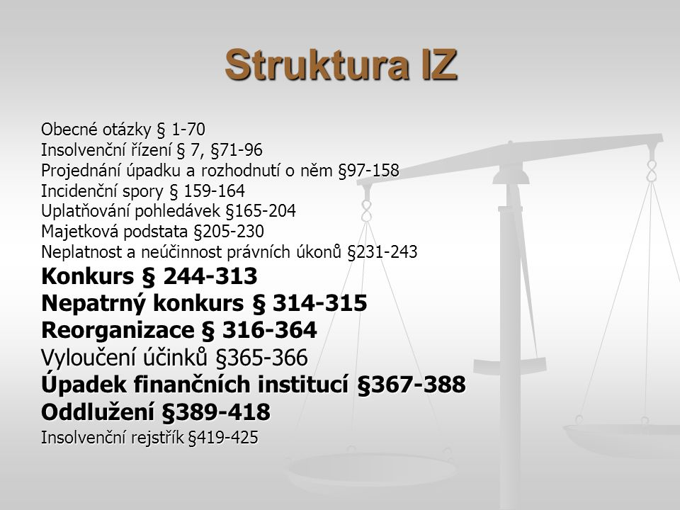 Struktura IZ Konkurs § 244-313 Nepatrný konkurs § 314-315