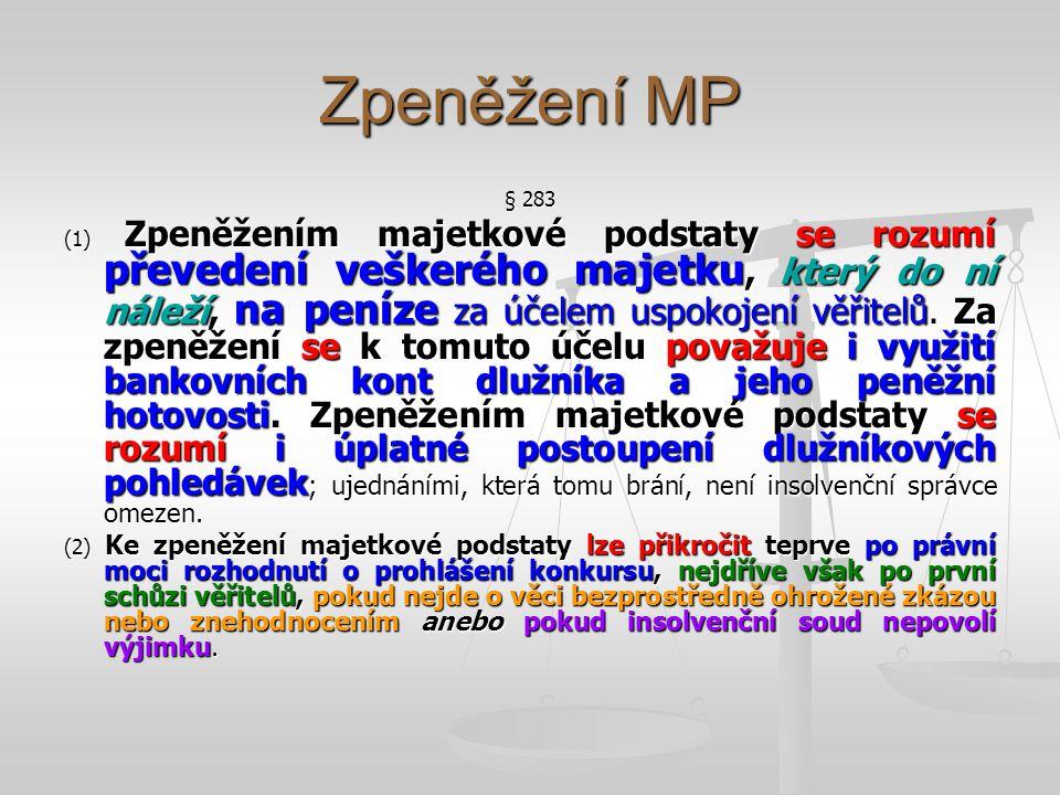 Zpeněžení MP § 283.
