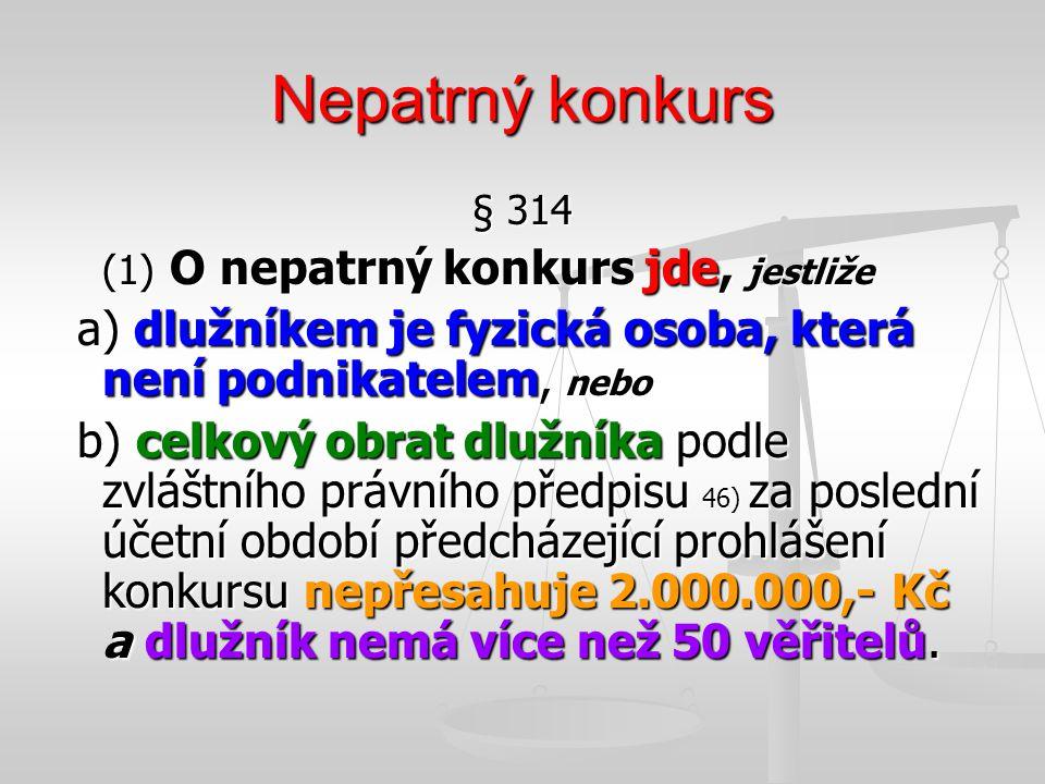 Nepatrný konkurs § 314. (1) O nepatrný konkurs jde, jestliže. a) dlužníkem je fyzická osoba, která není podnikatelem, nebo.