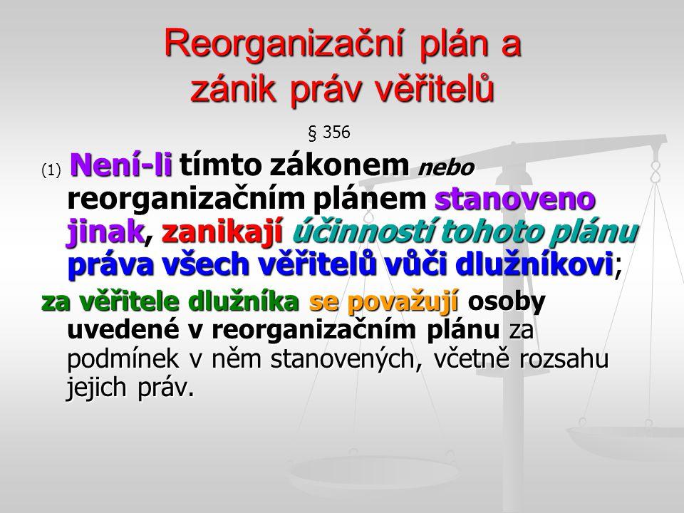 Reorganizační plán a zánik práv věřitelů
