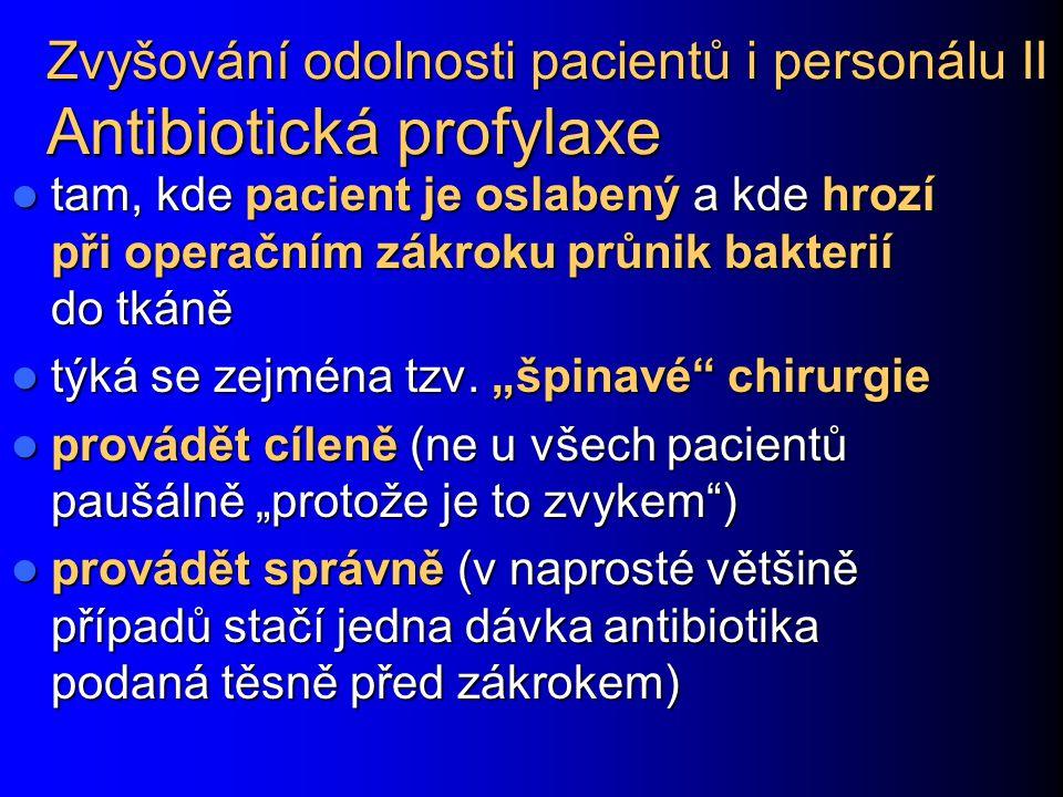 Zvyšování odolnosti pacientů i personálu II Antibiotická profylaxe