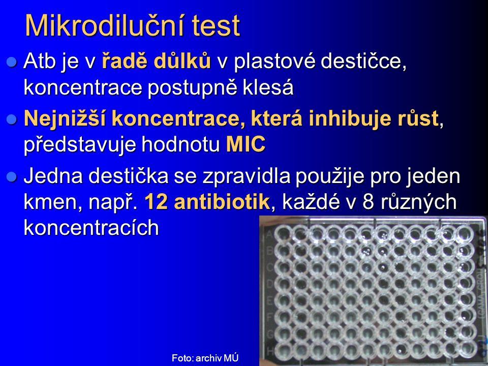 Mikrodiluční test Atb je v řadě důlků v plastové destičce, koncentrace postupně klesá.