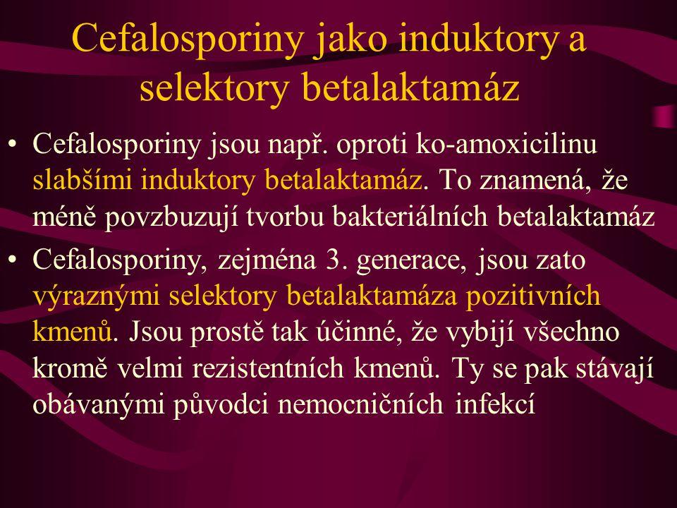 Cefalosporiny jako induktory a selektory betalaktamáz