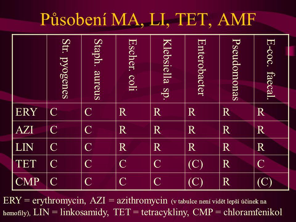 Působení MA, LI, TET, AMF ERY C R AZI LIN TET (C) CMP Str. pyogenes