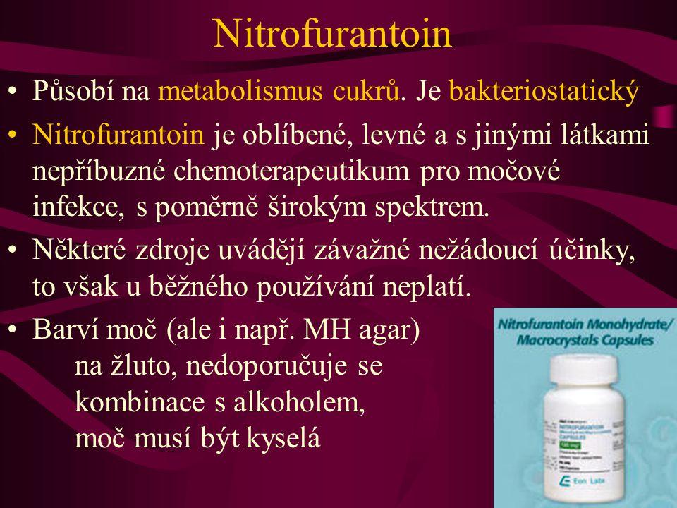 Nitrofurantoin Působí na metabolismus cukrů. Je bakteriostatický