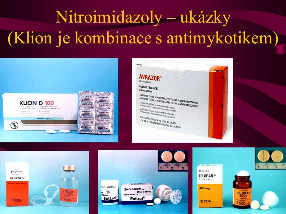 Nitroimidazoly – ukázky (Klion je kombinace s antimykotikem)
