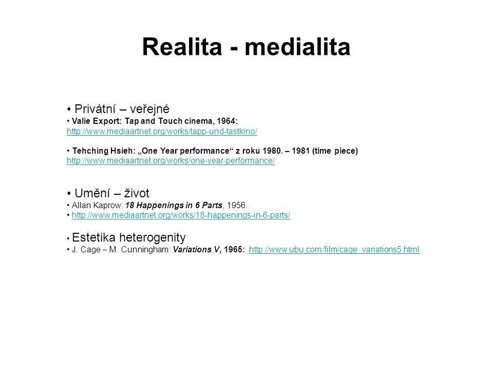 Realita - medialita Privátní – veřejné Umění – život