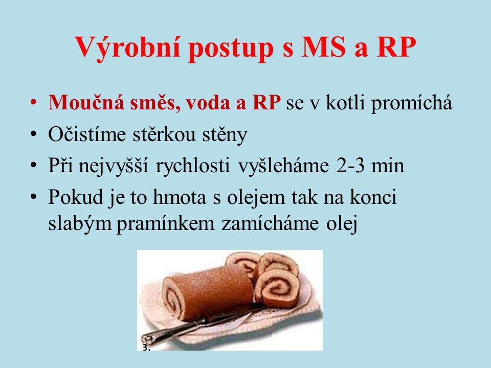 Výrobní postup s MS a RP Moučná směs, voda a RP se v kotli promíchá