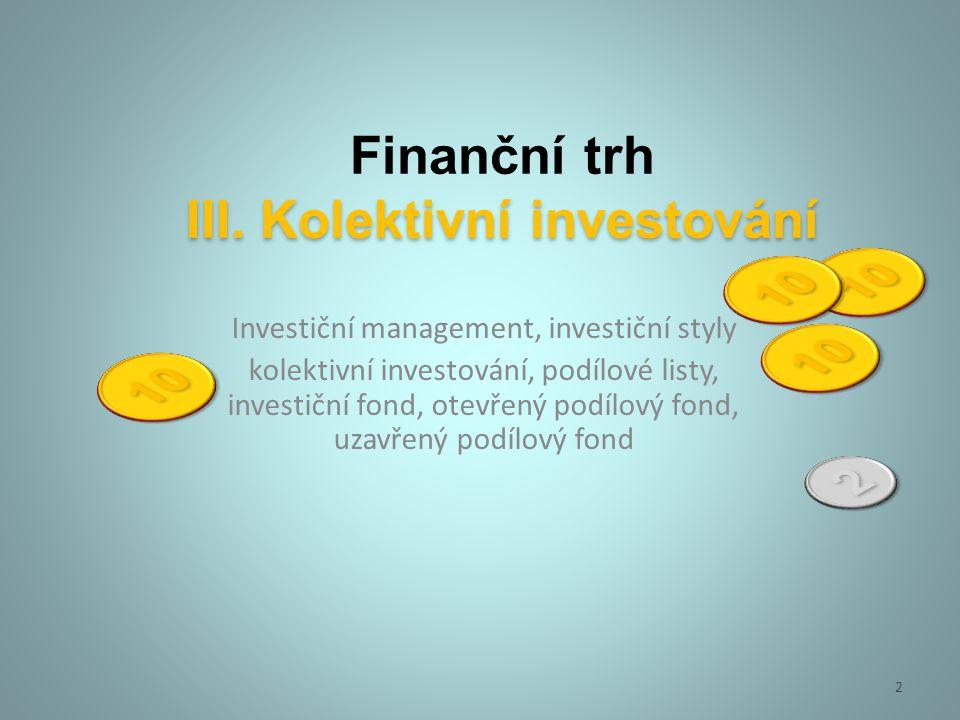 Finanční trh III. Kolektivní investování