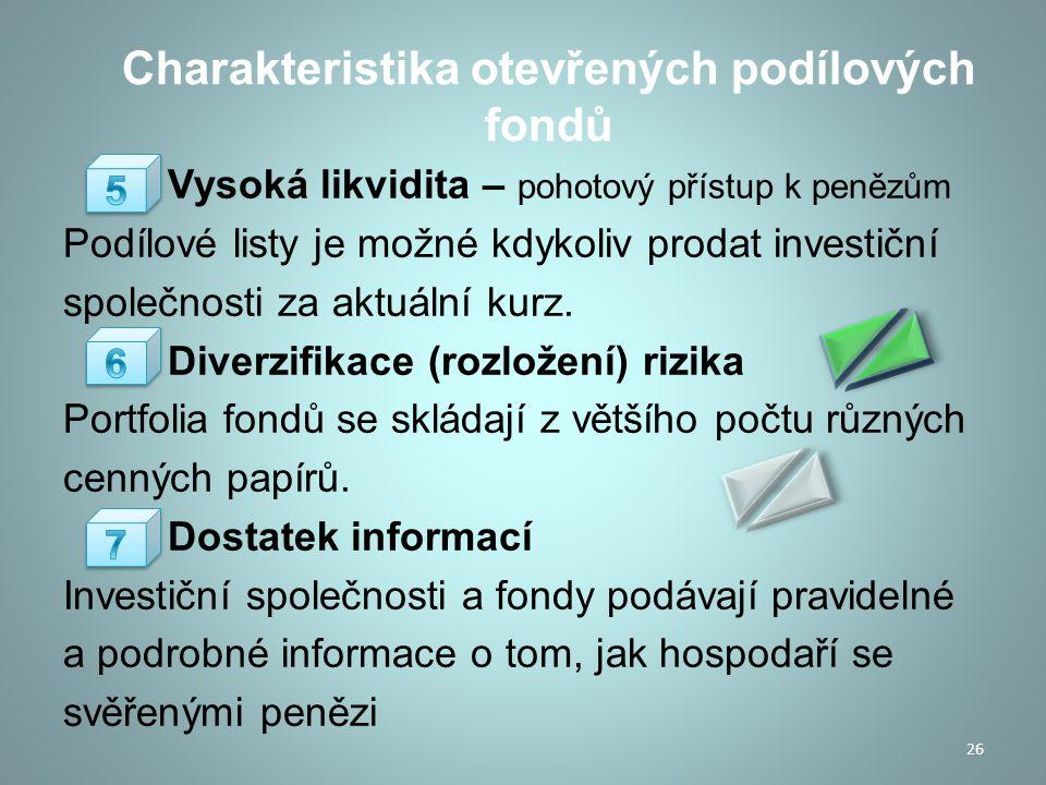 Charakteristika otevřených podílových fondů