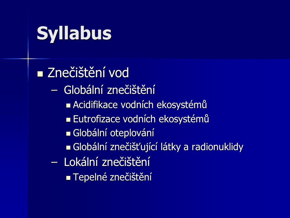 Syllabus Znečištění vod Globální znečištění Lokální znečištění