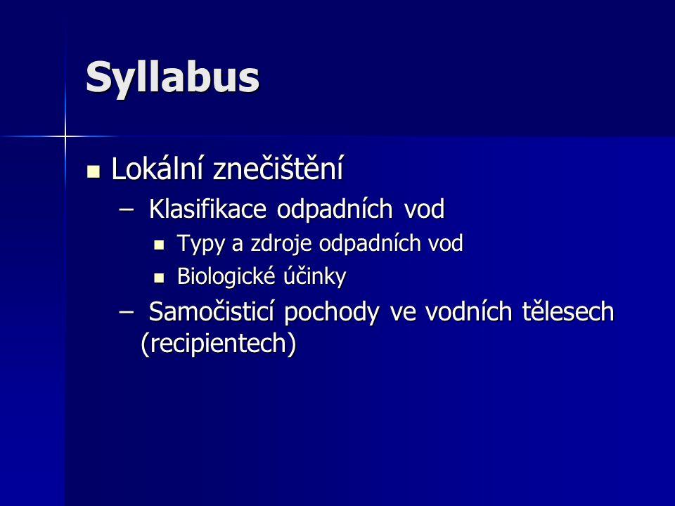 Syllabus Lokální znečištění Klasifikace odpadních vod