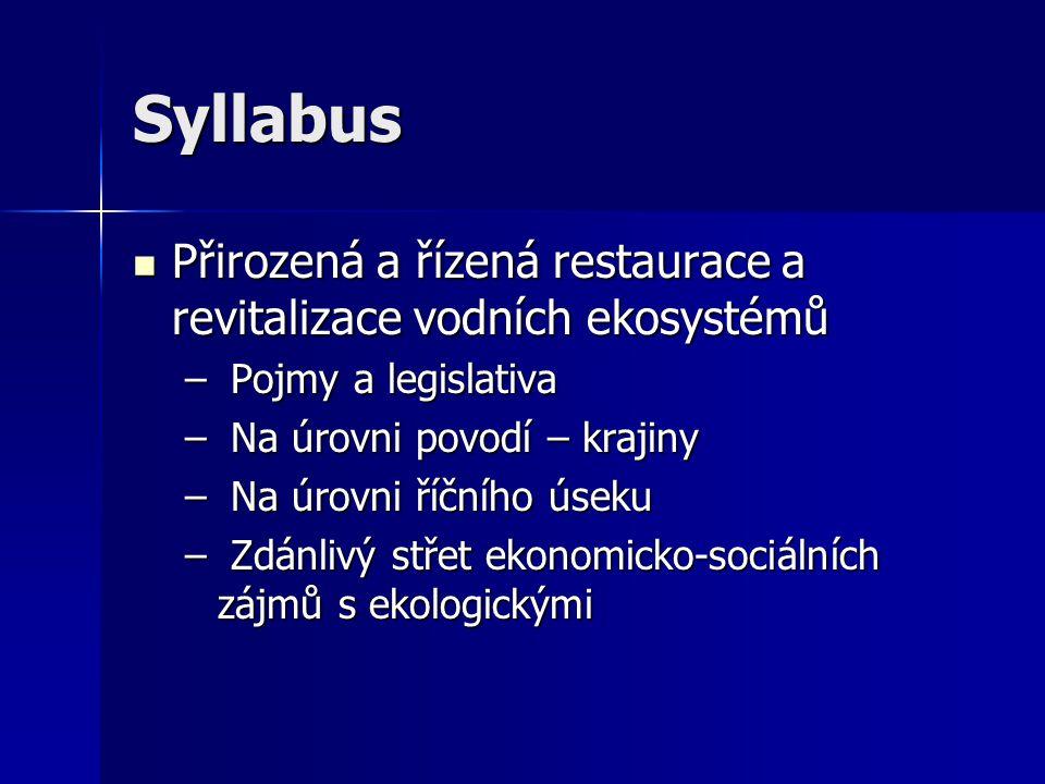 Syllabus Přirozená a řízená restaurace a revitalizace vodních ekosystémů. Pojmy a legislativa. Na úrovni povodí – krajiny.