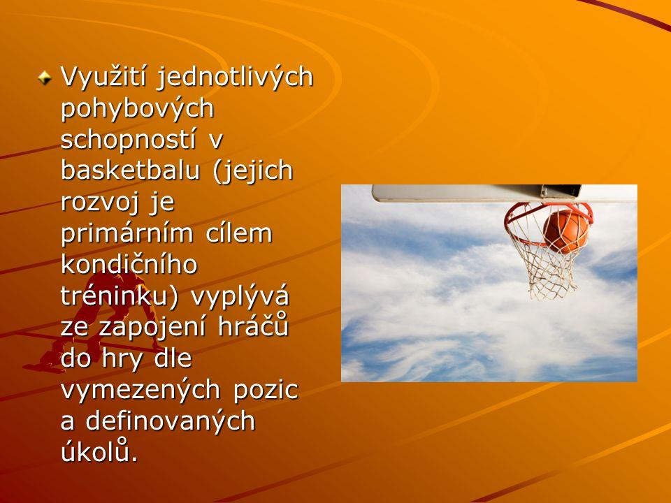 Využití jednotlivých pohybových schopností v basketbalu (jejich rozvoj je primárním cílem kondičního tréninku) vyplývá ze zapojení hráčů do hry dle vymezených pozic a definovaných úkolů.