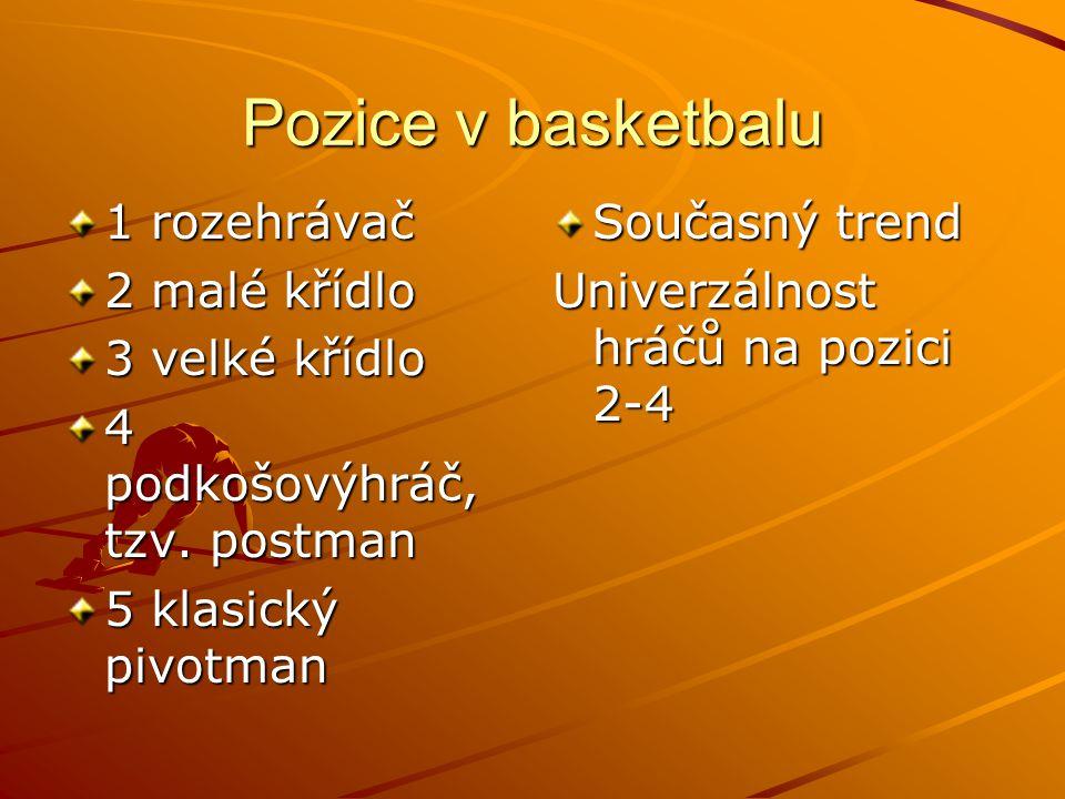 Pozice v basketbalu 1 rozehrávač 2 malé křídlo 3 velké křídlo