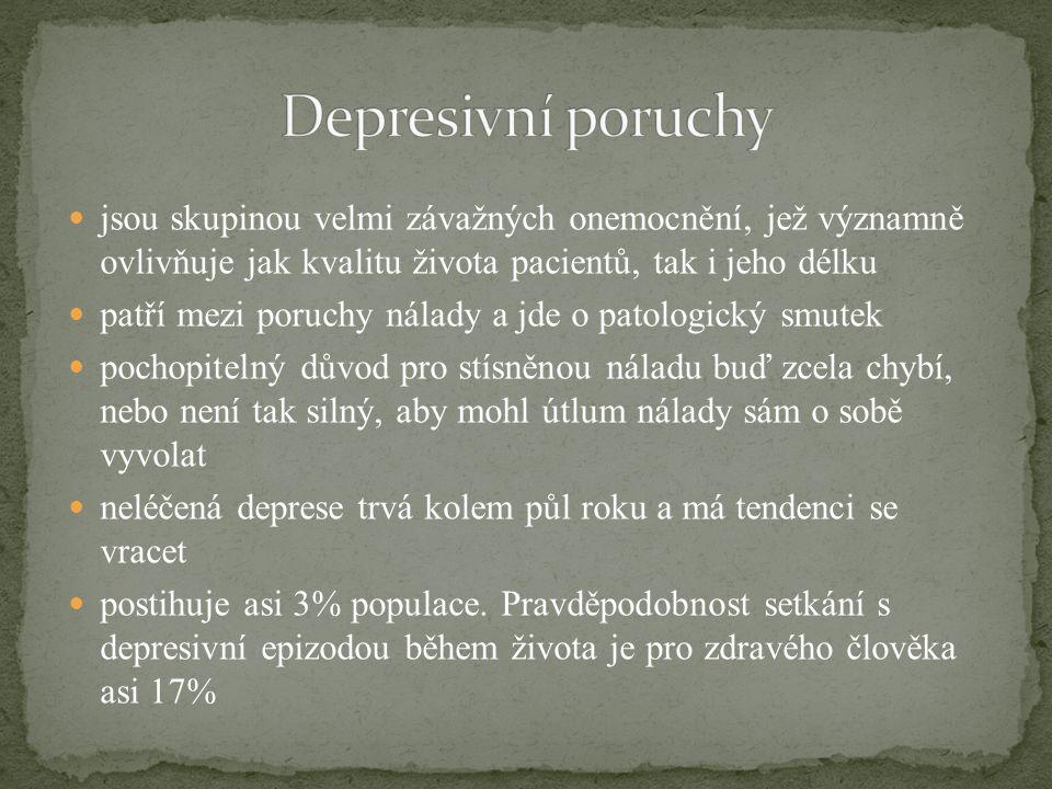 Depresivní poruchy jsou skupinou velmi závažných onemocnění, jež významně ovlivňuje jak kvalitu života pacientů, tak i jeho délku.