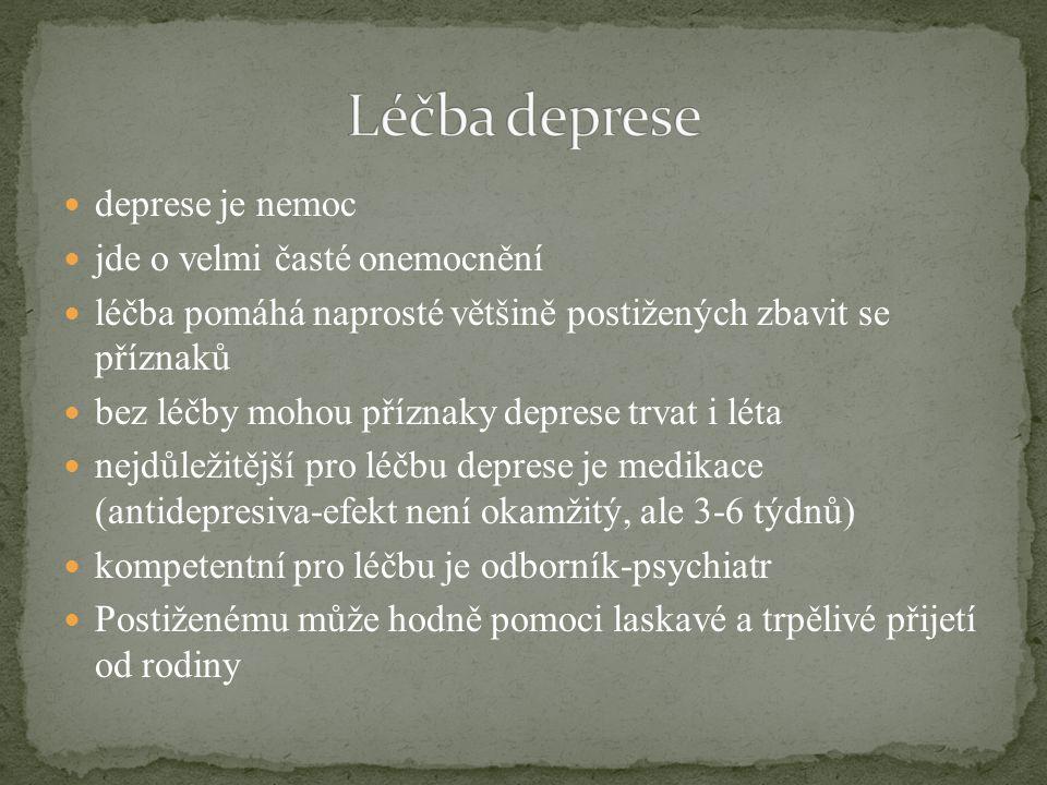 Léčba deprese deprese je nemoc jde o velmi časté onemocnění