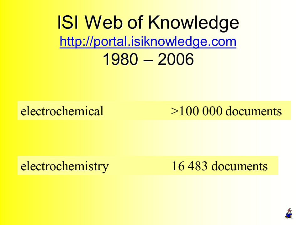 ISI Web of Knowledge http://portal.isiknowledge.com 1980 – 2006