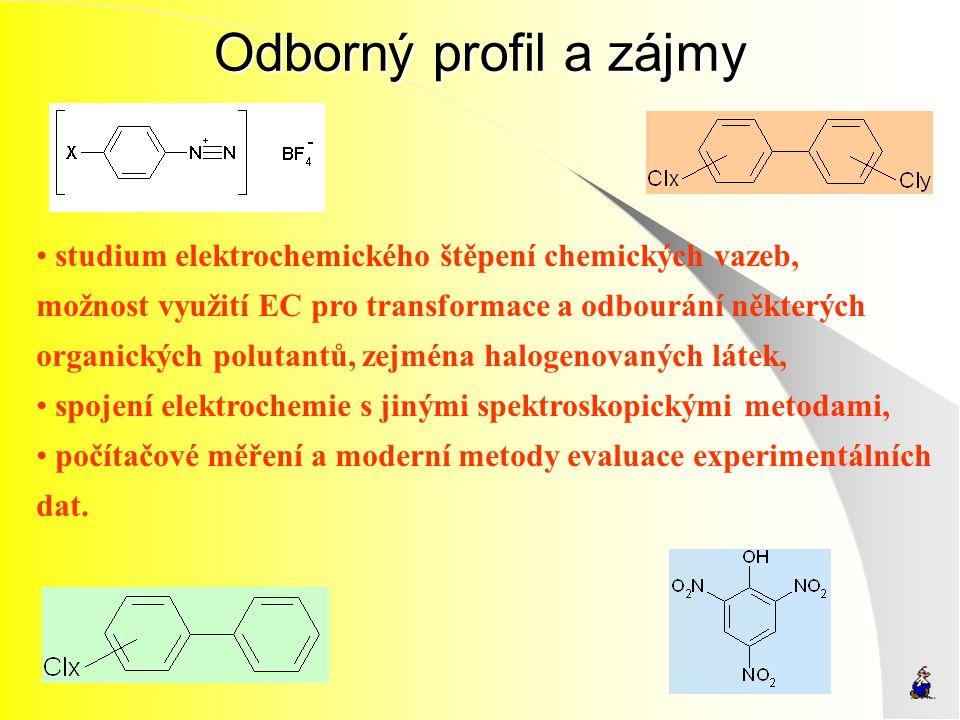 Odborný profil a zájmy studium elektrochemického štěpení chemických vazeb, možnost využití EC pro transformace a odbourání některých.