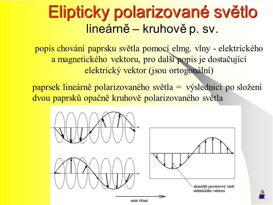 Elipticky polarizované světlo lineárně – kruhově p. sv.
