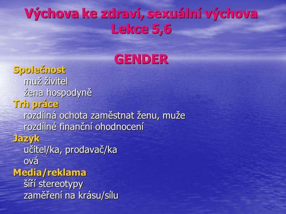 Výchova ke zdraví, sexuální výchova Lekce 5,6 GENDER