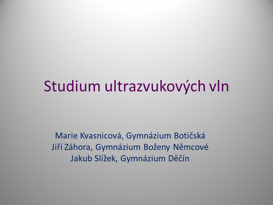 Studium ultrazvukových vln
