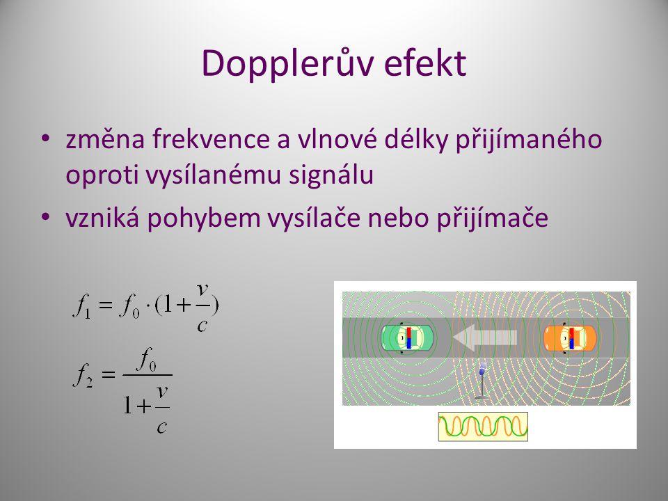Dopplerův efekt změna frekvence a vlnové délky přijímaného oproti vysílanému signálu. vzniká pohybem vysílače nebo přijímače.