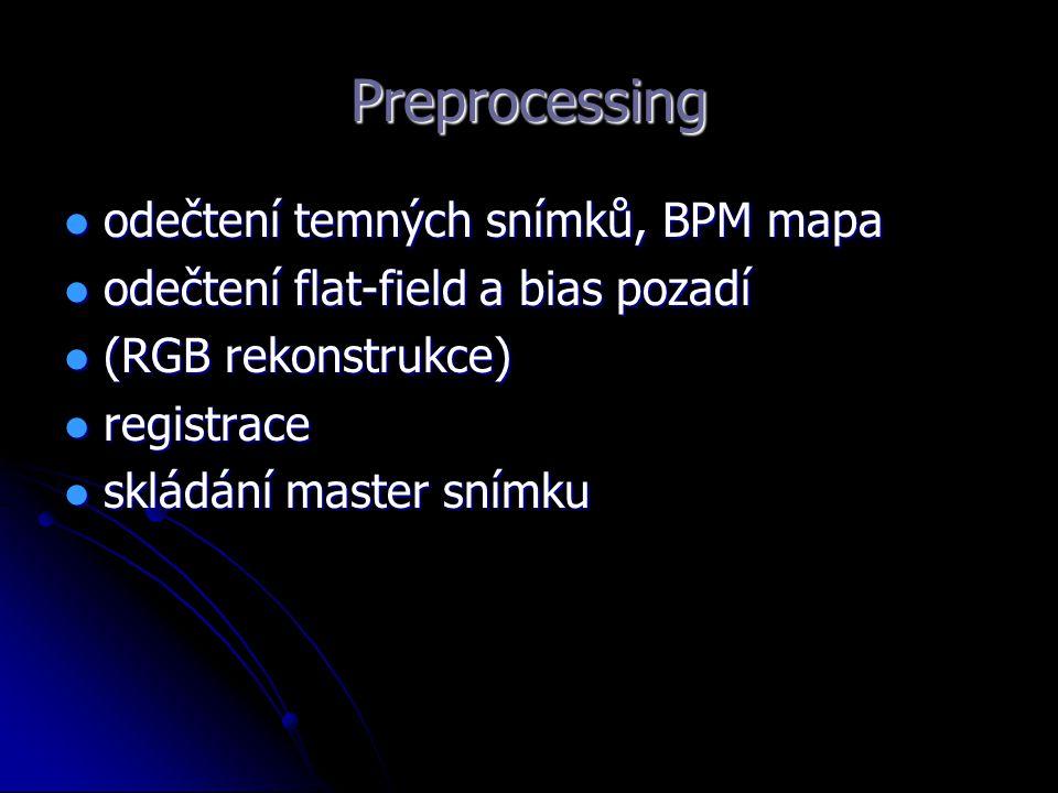 Preprocessing odečtení temných snímků, BPM mapa