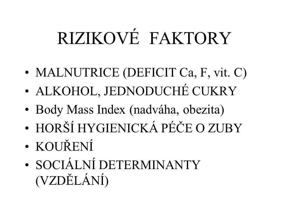 RIZIKOVÉ FAKTORY MALNUTRICE (DEFICIT Ca, F, vit. C)