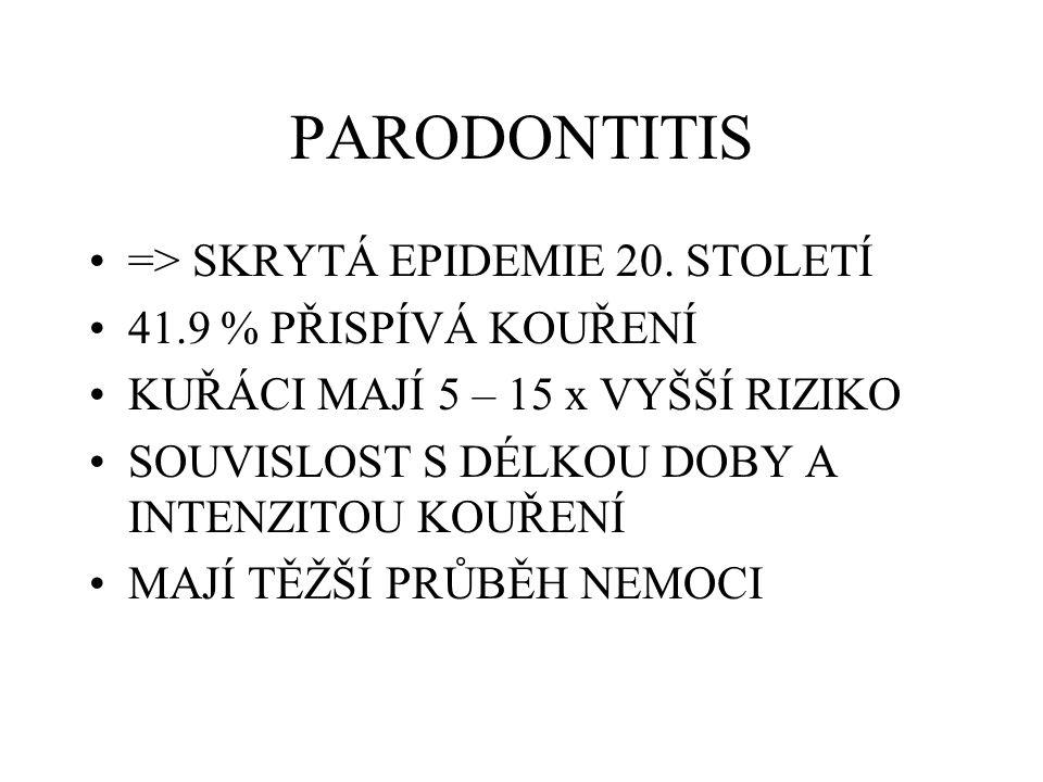 PARODONTITIS => SKRYTÁ EPIDEMIE 20. STOLETÍ 41.9 % PŘISPÍVÁ KOUŘENÍ