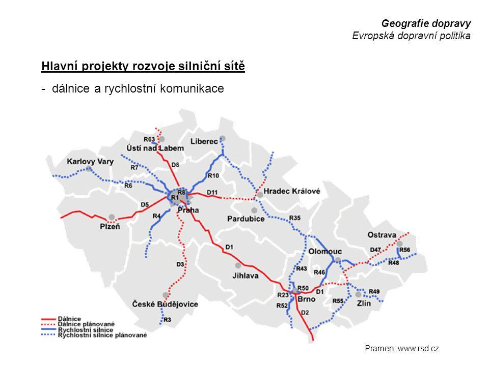 Hlavní projekty rozvoje silniční sítě
