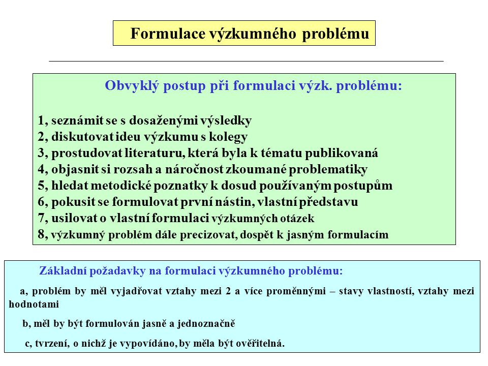 Formulace výzkumného problému