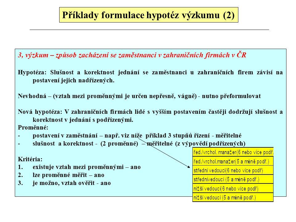 Příklady formulace hypotéz výzkumu (2)