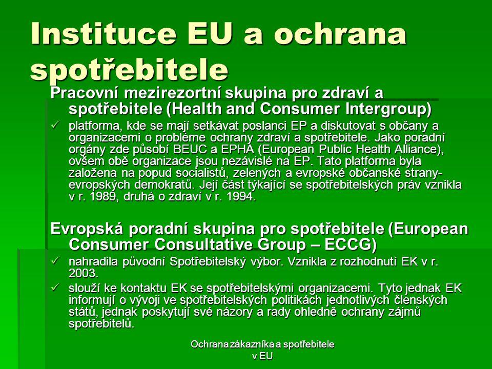 Instituce EU a ochrana spotřebitele